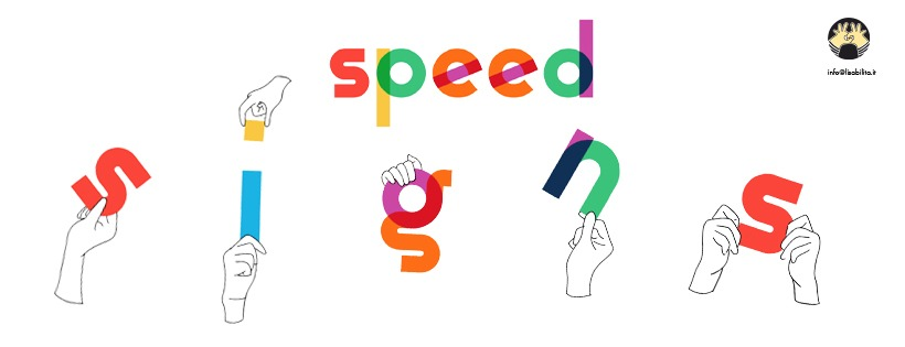 Logo di speed signs, mani che reggono le lettere che compongono il nome.